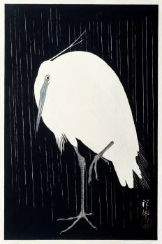 Egret in the rain (1925 - 1936) by Ohara Koson (1877-1945). Original from The Rijksmuseum.  #385581