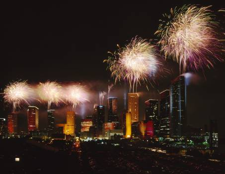 Fireworks over Houston, Texas. Original image from Carol M. Highsmith's America, Library of Congress collection.  Free Photo