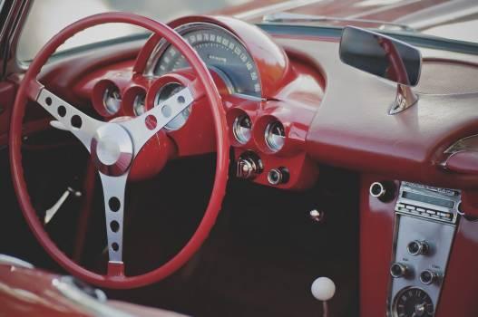 Interiors of classic red car #386498
