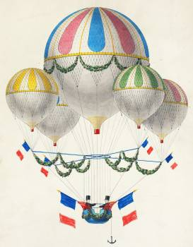 French flag decorated group of air balloons harnessed together, by Leon Benett (1917) or Alphonse-Marie-Adolphe de Neuville (1855). Original from Library of Congress.  #386602
