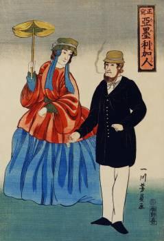 Shosha-Amerikajin by Utagawa Yoshikazu (1848-1863), a traditional Japanese illustration of a Japanese print showing an American couple, a woman holding a parasol and a man smoking a cigar. Original from Library of Congress.  Free Photo