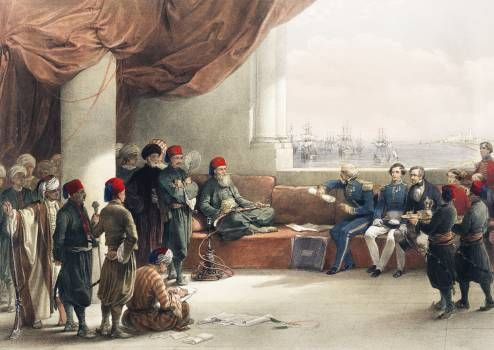 Interview with The Viceroy of Egypt at His palace at Alexandria illustration by David Roberts (1796–1864). Original from The New York Public Library.  Free Photo