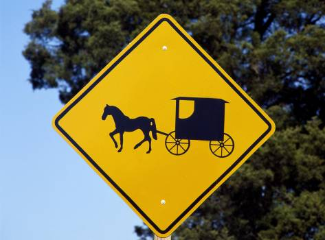 A caution sign to auto drivers to be on the lookout for Amish horses and buggies. Original image from Carol M. Highsmith's America, Library of Congress collection.  Free Photo