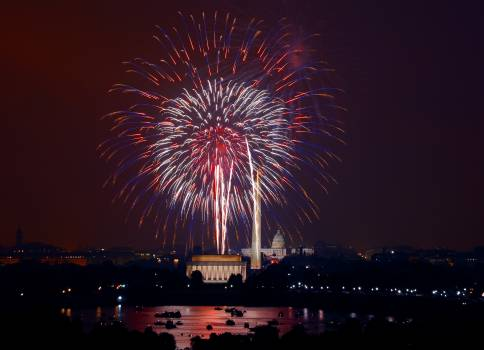 July 4th Fireworks. Washington DC is a spectacular place to celebrate July 4th! Original image from Carol M. Highsmith's America, Library of Congress collection.  #386864