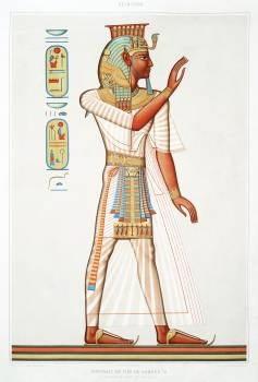 Full portrait of Ramses III from Histoire de l'art égyptien (1878) by Émile Prisse d'Avennes. Original from The New York Public Library.  #386911