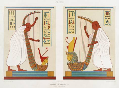 Bards of Ramses III from Histoire de l'art égyptien (1878) by Émile Prisse d'Avennes. Original from The New York Public Library.  Free Photo