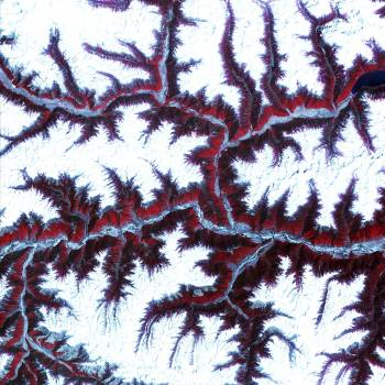 Snow-capped peaks and ridges of the eastern Himalaya Mountains. Original from NASA.  Free Photo