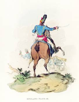 Illustration of the officer of horse artillery from Picturesque Representations of the Dress and Manners of the English(1814) by William Alexander (1767-1816). Original from The New York Public Library.  #387156