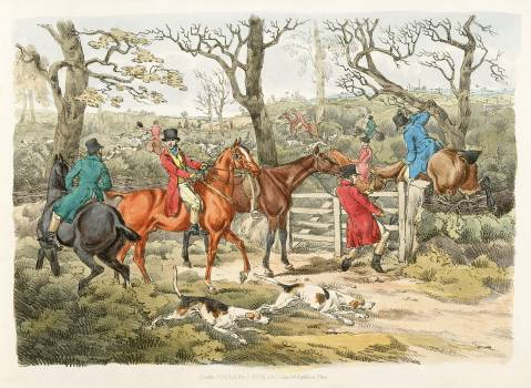 Illustration of sportsmen within an enclosure from Sporting Sketches (1817-1818) by Henry Alken (1784-1851). Original from The New York Public Library.  Free Photo