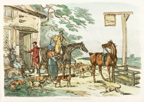 Illustration of hunters before hunting from Sporting Sketches (1817-1818) by Henry Alken (1784-1851). Original from The New York Public Library.  Free Photo