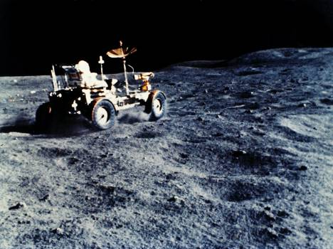 The Lunar Roving Vehicle (LRV) was designed to transport astronauts and materials on the Moon. Original from NASA.  #387300