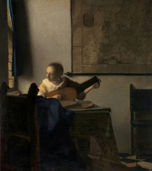 Young Woman with a Lute (ca.1662–1663) by Johannes Vermeer. Original from The MET Museum.  #387361