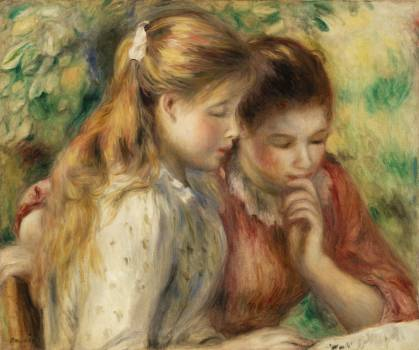 Reading (La Lecture) (1891) by Pierre-Auguste Renoir. Original from Barnes Foundation.  Free Photo