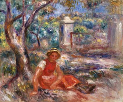 Girl at the Foot of a Tree (Fillette au pied d'un arbre) (1914) by Pierre-Auguste Renoir. Original from Barnes Foundation.  Free Photo