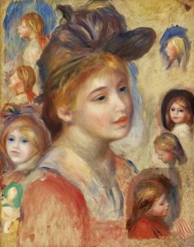 Study of Girls' Heads (Étude de têtes de jeunes filles) (1893) by Pierre-Auguste Renoir. Original from Barnes Foundation.  Free Photo