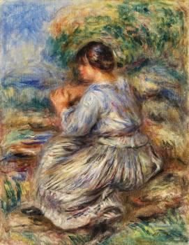 Girl Seated in a Landscape (Jeune fille assise dans un jardin) (1914) by Pierre-Auguste Renoir. Original from Barnes Foundation.  #387838