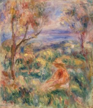 Seated Woman with Sea in the Distance (Femme assise au bord de la mer) (1917) by Pierre-Auguste Renoir. Original from Barnes Foundation.  Free Photo