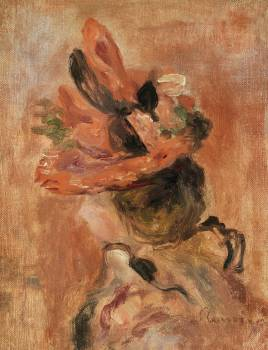 Woman's Head with Red Hat (1890) by Pierre-Auguste Renoir. Original from Barnes Foundation.  #387852