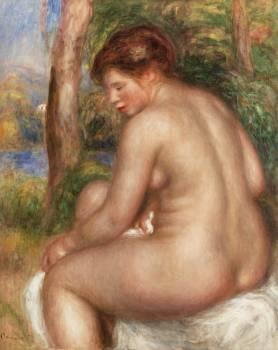 Bather in Three-Quarter View (Baigneuse vue de trois quarts) (1911) by Pierre-Auguste Renoir. Original from Barnes Foundation.  Free Photo