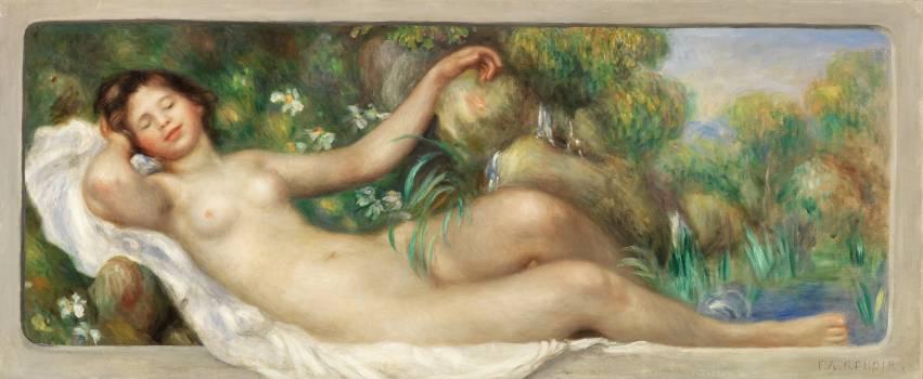 Reclining Nude (La Source) (1895) by Pierre-Auguste Renoir. Original from Barnes Foundation.  Free Photo