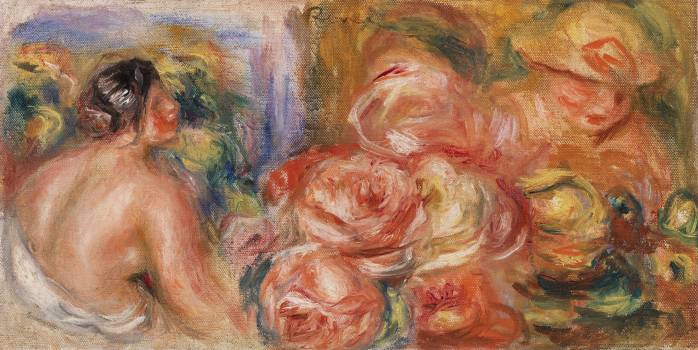 Roses and Small Nude (Roses et petit nu) (1916) by Pierre-Auguste Renoir. Original from Barnes Foundation.  #387955