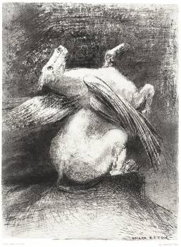 The Impotent Wing Did Not Lift the Animal Into That Black Space (1883) by Odilon Redon. Original from the National Gallery of Art.  Free Photo