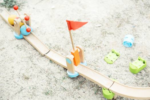 Wooden toy bridge in a park Free Photo