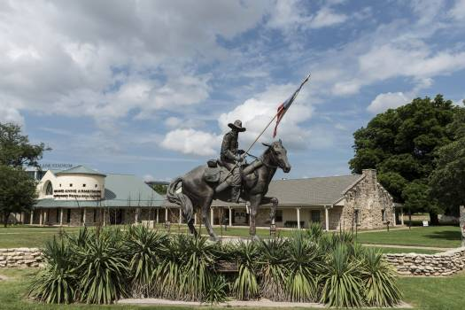 """""""Texas Ranger,"""" San Antonio artist Don Hunt's sculpture of a 19th-Century ranger on horseback at the entrance to the Texas Ranger Hall of Fame and Museum in Waco. Original image from Carol M. Highsmith's America, Library of Congress collection.  #388329"""