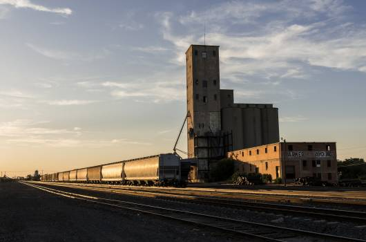A grain elevator adjoins freight-rail tracks in Wichita Falls, Texas. Original image from Carol M. Highsmith's America, Library of Congress collection.  #388332