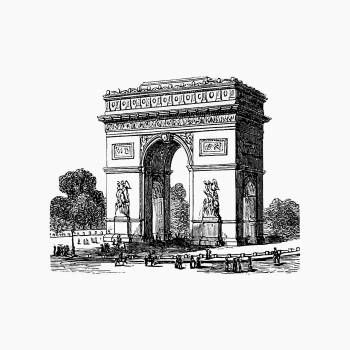 Arc de Triomphe from Paris-Neuf, Or Dream And Reality. Great Phantasmagoria (1861) published by Charles Simon Pascal Soullier. Original from the British Library.  #388891