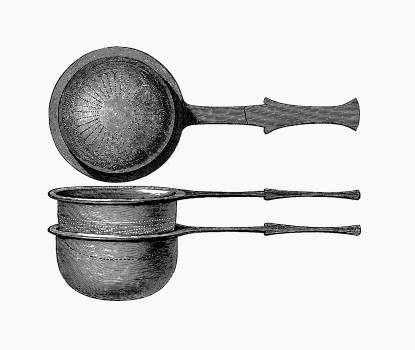 Scoop with bronze sieve. Roman work skane from Swedish History From The Oldest Time To Our Days (1877). Original from the British Library.  #388946