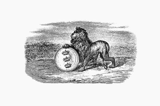 Lion from Illustrated Denmark's History For Folke (1854) published by Adam Kristoffer Fabricius. Original from the British Library.  Free Photo