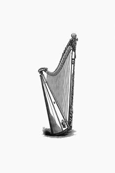Harp from The Literary Remains Of The Rev. Thomas Price published by Llandovery (1854). Original from the British Library.  #389076
