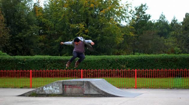 Man Jumping on Rollerskates Ramp #38909