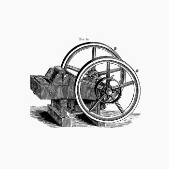 Lever pattern with wheels and pulley from Articles On The Geology Of North America And Other Subjects, Reprinted From Various Periodicals (1895). Original from the British Library.  #389251