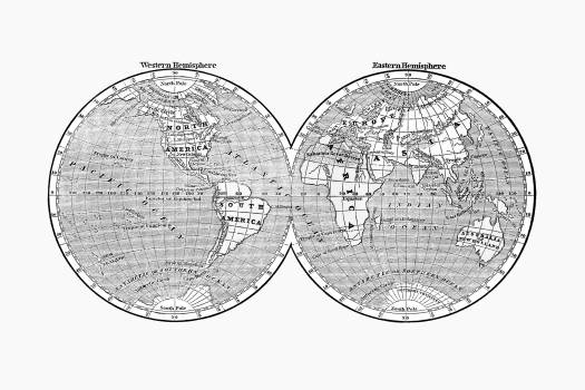 World map from A System of Geography, for the use of Schools (1860) published by Sidney Edwards Morse. Original from the British Library.  Free Photo
