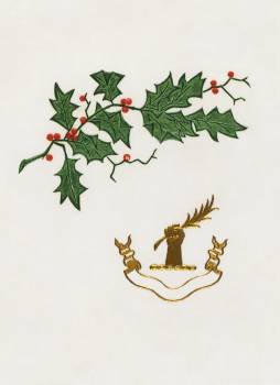 Christmas dinner card with a holly branch (1899) from The Buttolph collection of menus. Original From The New York Public Library.  #390208
