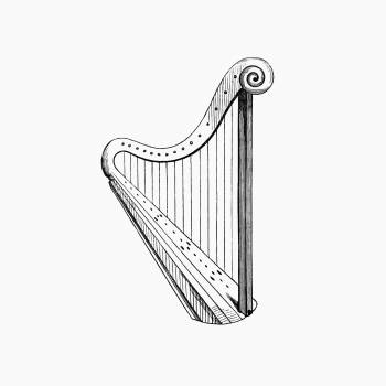 Vintage Victorian style harp engraving. Original from the British Library.  #390294