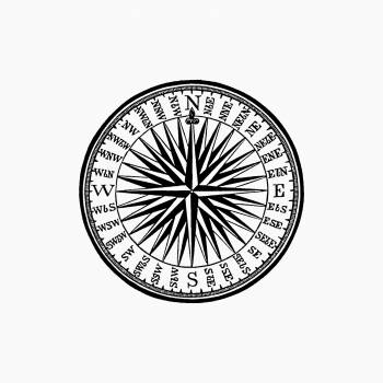 Vintage Victorian style compass engraving. Original from the British Library.  Free Photo