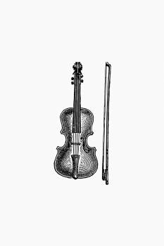 Vintage European style violin engraving. Original from the British Library.  Free Photo