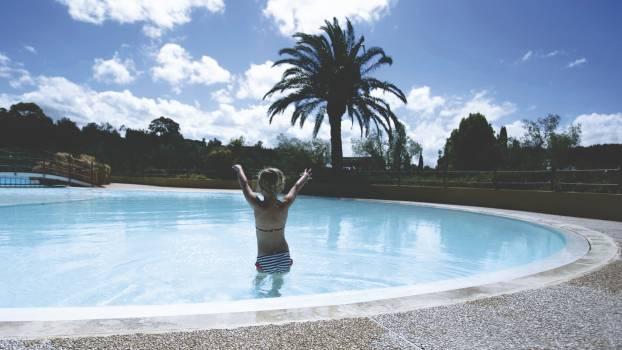 Sunny blue summer swimming pool #39040