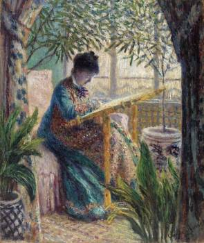 Madame Monet Embroidering (1875) by Claude Monet. Original from the Barnes Foundation.  #390650