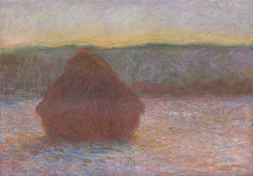 Haystacks, Thaw, Sunset (1890–1891) by Claude Monet. Original from the Art Institute of Chicago.  #390680