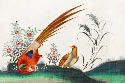Chinese painting featuring two birds among flowers (ca.1800–1899) from the Miriam and Ira D. Wallach Division of Art, Prints and Photographs: Art & Architecture Collection. Original from the New York Public Library.  #390716