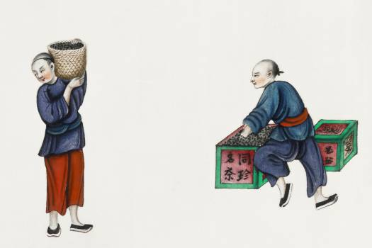 Chinese painting featuring one man packing tea and the other carrying a basket (ca.1800–1899) from the Miriam and Ira D. Wallach Division of Art, Prints and Photographs: Art & Architecture Collection. Original from the New York Public Library.  #390721