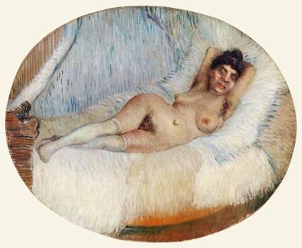 Reclining Nude (Femme nue étendue sur un lit) (1887) by Vincent Van Gogh. Original from the Barnes Foundation.  #390787