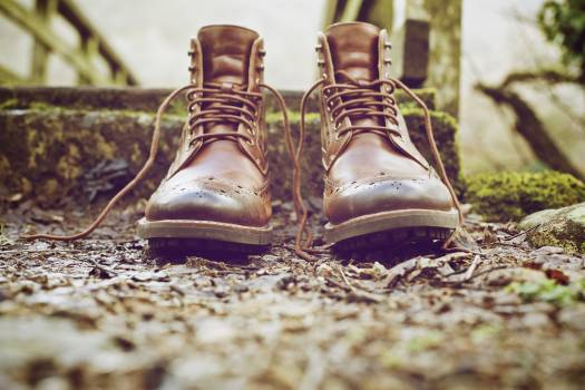 Brown Leather Work Boots on Ground #39084