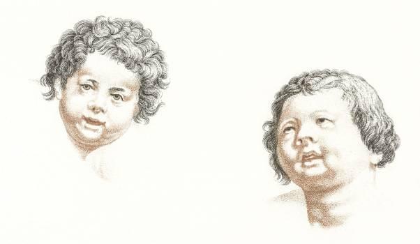Two children by Johan Teyler (1648 -1709). Original from The Rijksmuseum.  Free Photo