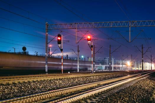Light night train transportation Free Photo