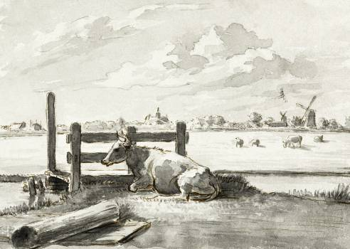 Whey with lying cow by Jean Bernard (1775-1883). Original from The Rijksmuseum.  #391419